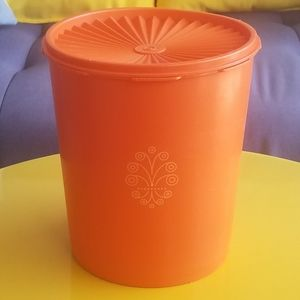 Vintage Harvest Orange Tupperware Container